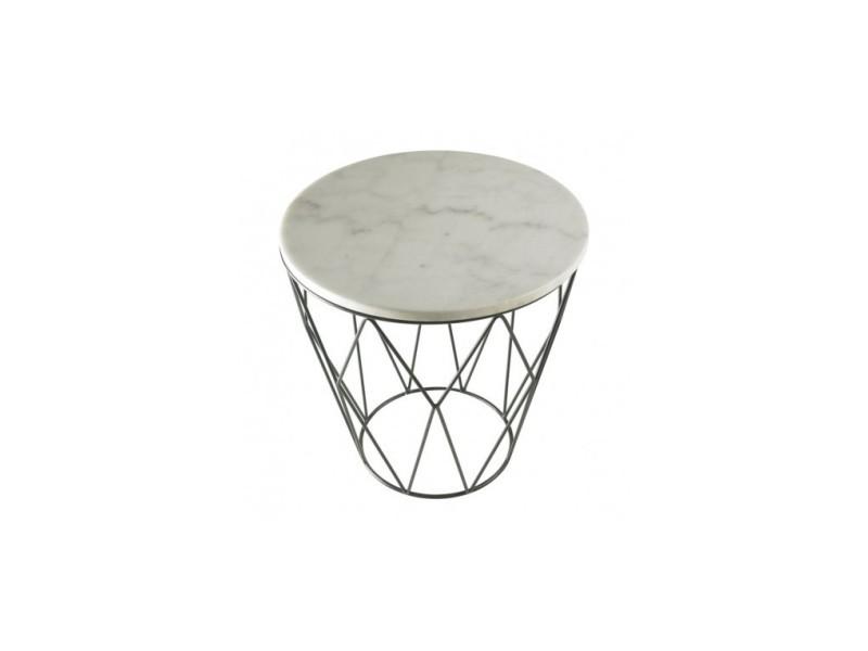 Table d'appoint marbre blanche et chrome web