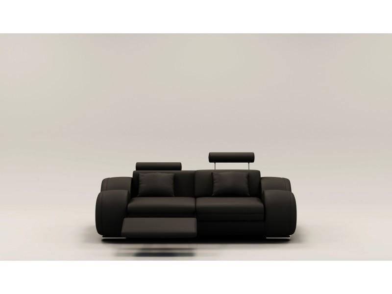 Canapé 2 places design relax oslo en cuir noir-