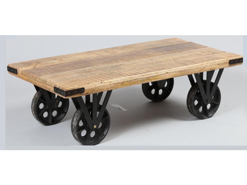 Table basse en bois de palissandre massif coloris naturel, h330 x l1100 x l550 mm -pegane-
