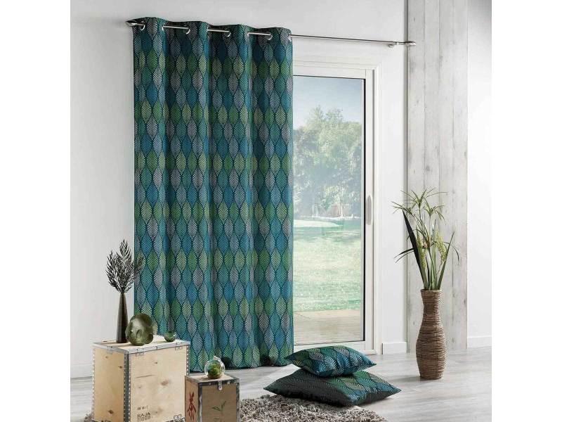 rideau imprim feuilles stylis es ann e 30 140 x 260 cm 1607387 bleu vente de rideau. Black Bedroom Furniture Sets. Home Design Ideas
