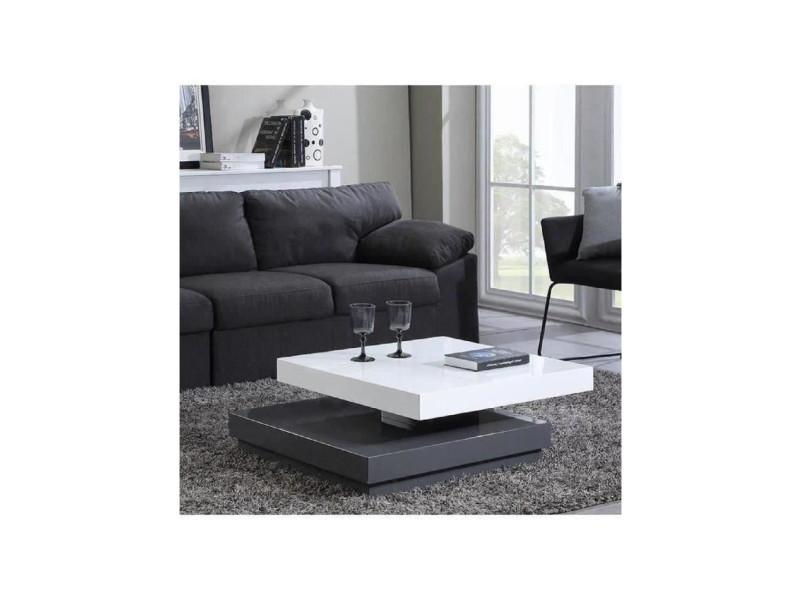 laque et Vegas transformable 75x75cm blanc gris table basse QoreCdWExB