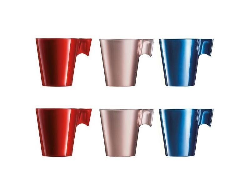 Tasses et thermos distingué ensemble de tasses à café luminarc flashy (6 pcs) 22 cl