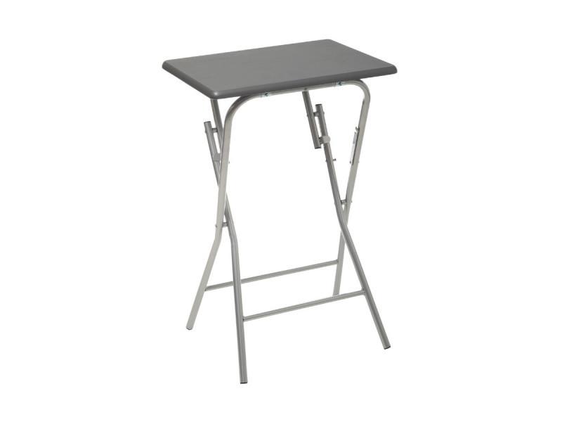 Five - table d'appoint pliante en bois et métal gris h 64 cm