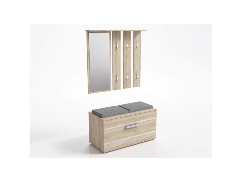 Kathi | meuble d'entrée miroir + banc | 35x85x180 cm | banc de rangement à chaussures | 6 crochets | vestiaire - sonoma