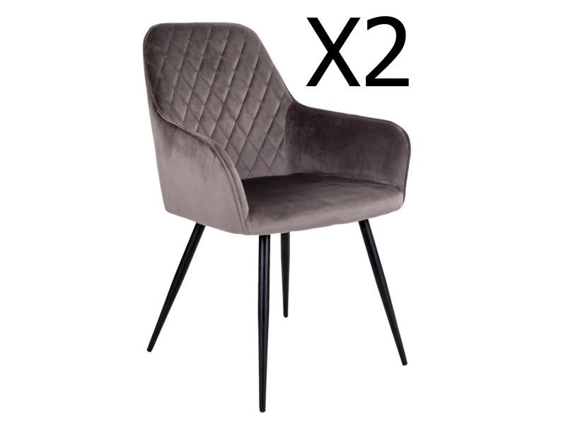 Lot de 2 chaises de salle à manger coloris taupe en velours - dim: 65 x 57 x 87 cm -pegane-