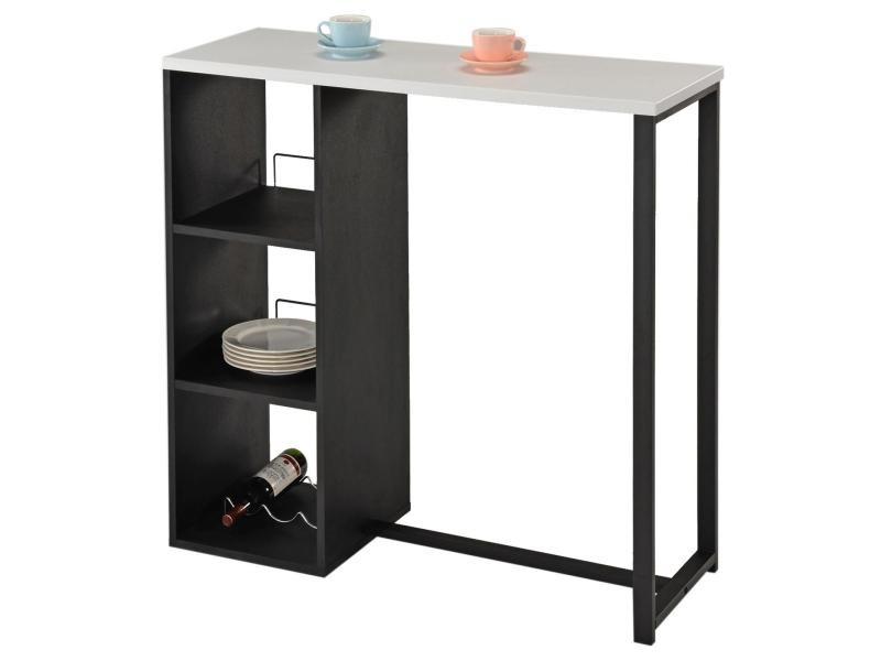 Table haute de bar piava mange-debout comptoir avec 3 étagères dont 1 porte-bouteilles, en métal laqué noir et plateau en mdf blanc