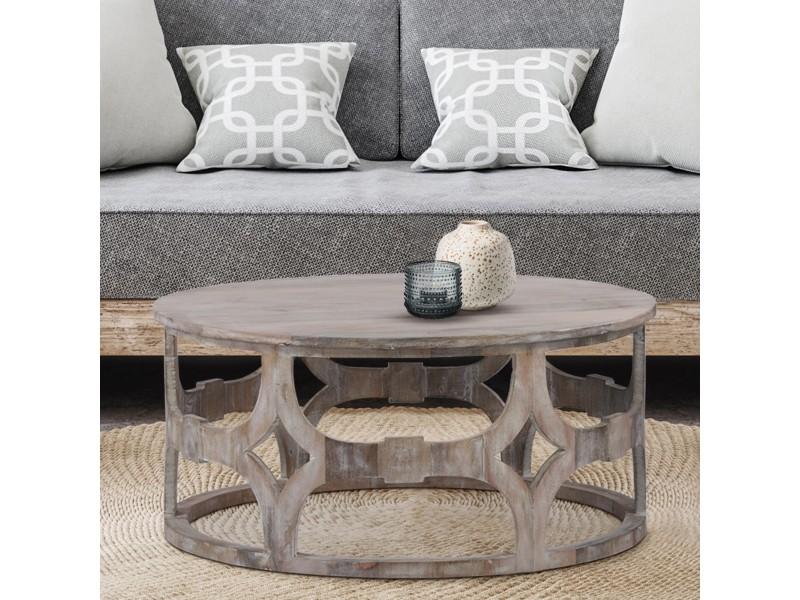 Womo-design table basse barcelona blanche, ø 75x35 cm, en bois massif de manguier 390002093