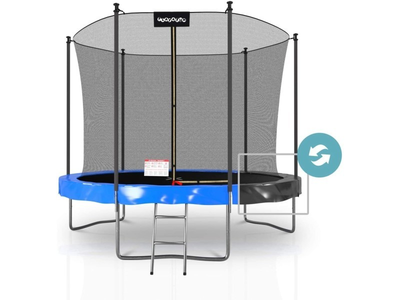 Trampoline extérieur classique play4fun 10ft - ø305cm - avec housse de coussin réversible bleu / noir, echelle, filet de sécurité, tapis de saut