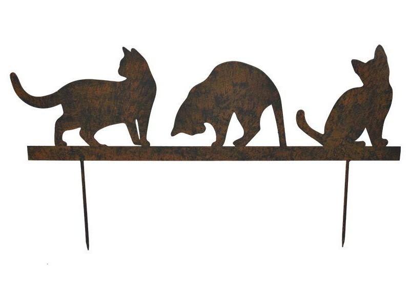 Statue de jardin silhouette chatons sur pique en fonte 60x19 cm
