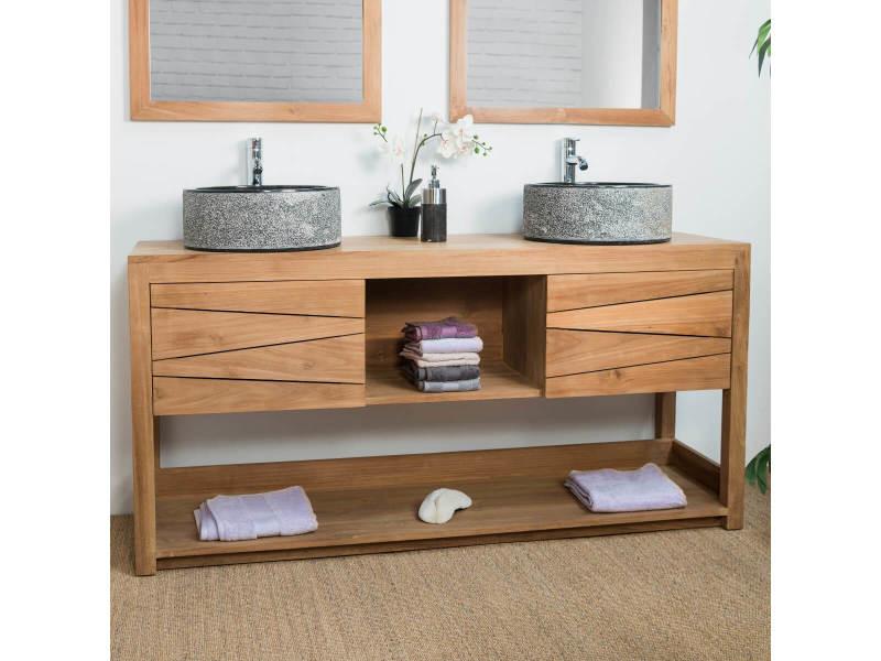 Meuble double vasque de salle de bain en teck cosy 160cm - Meuble vasque salle de bain conforama ...