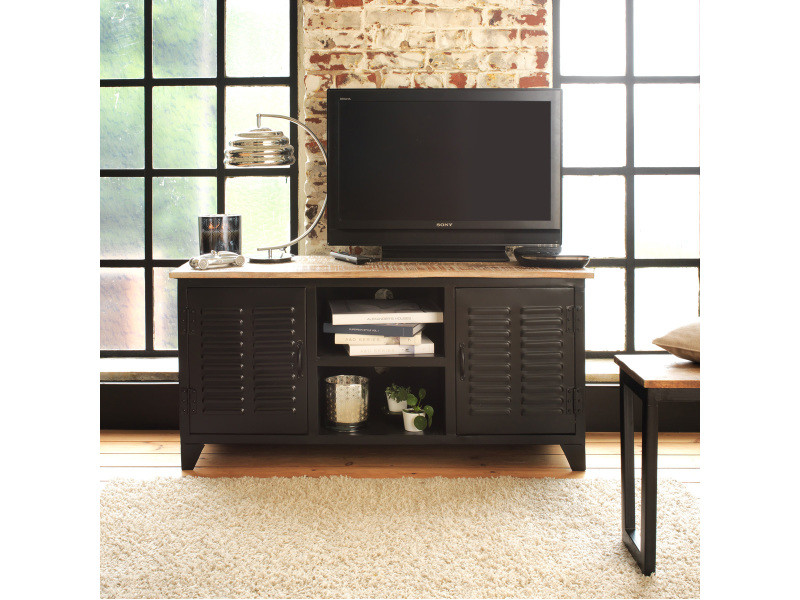meuble tv industriel en m tal et bois blanchi mimki 04 vente de meuble tv conforama. Black Bedroom Furniture Sets. Home Design Ideas