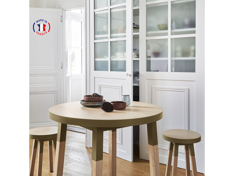 Table ronde 100% frêne massif 100x100 cm tabac de ruca - 100% fabrication française