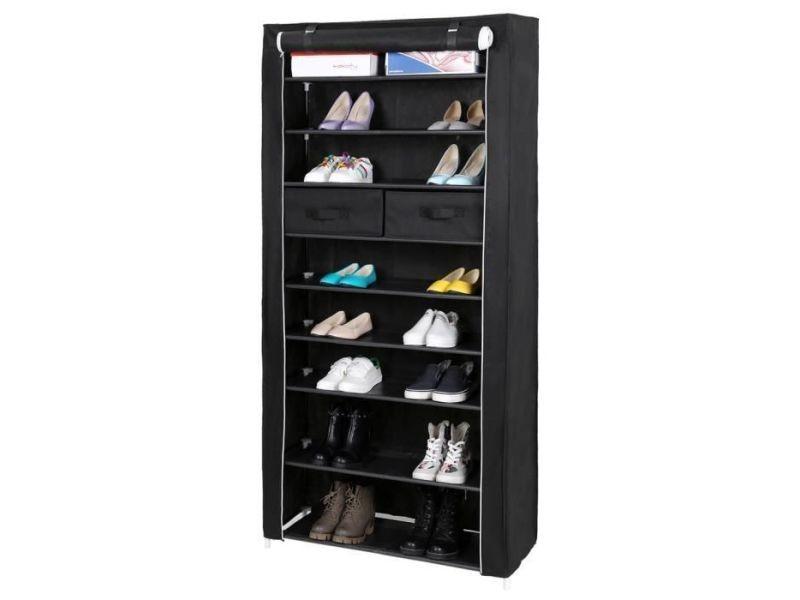 Songmics armoire à chaussures étagère à chaussures 10 couches avec 2 tiroirs noir rxa10h 10 couches avec 2 tiroirs 88 x 28 x 175cm