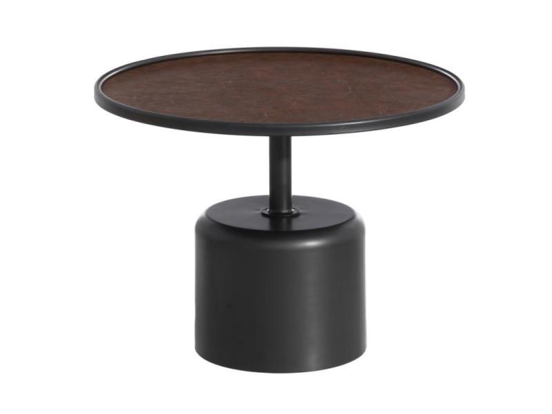Guéridon métal noir/simili cuir marron - bomia - l 60 x l 60 x h 45 - neuf