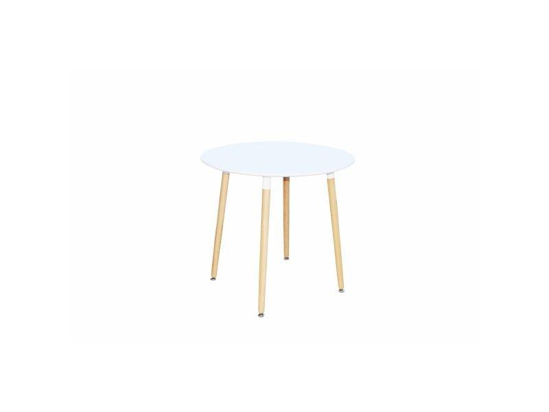 Table à manger ronde scandinave laquée blanc rimma DT-9017 RONDE