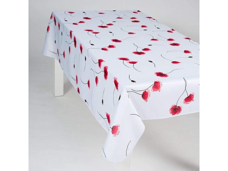 Nappe antitache rectangulaire - infroissable et 100% polyester - 200x150 cm - 4/6 couverts - coquelicot - blanc - intérieur ou extérieur