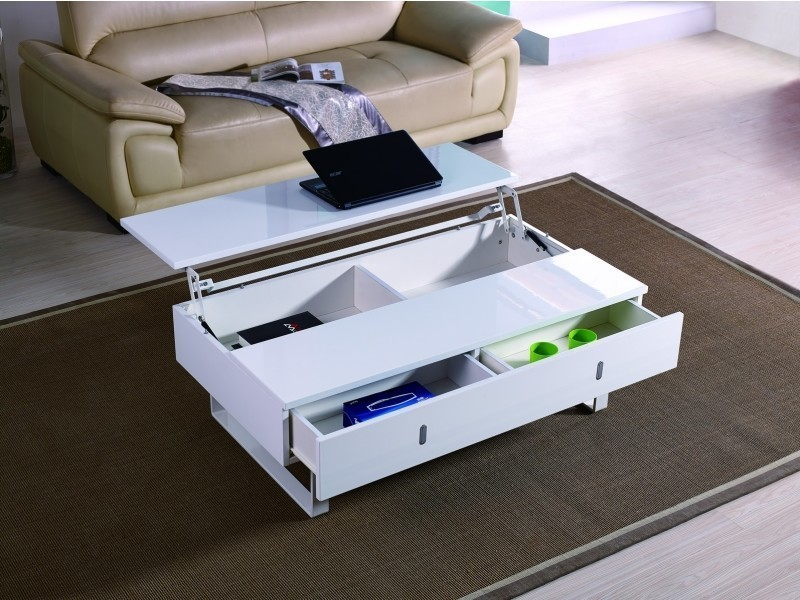 Table basse laque blanc mutifonction easy-