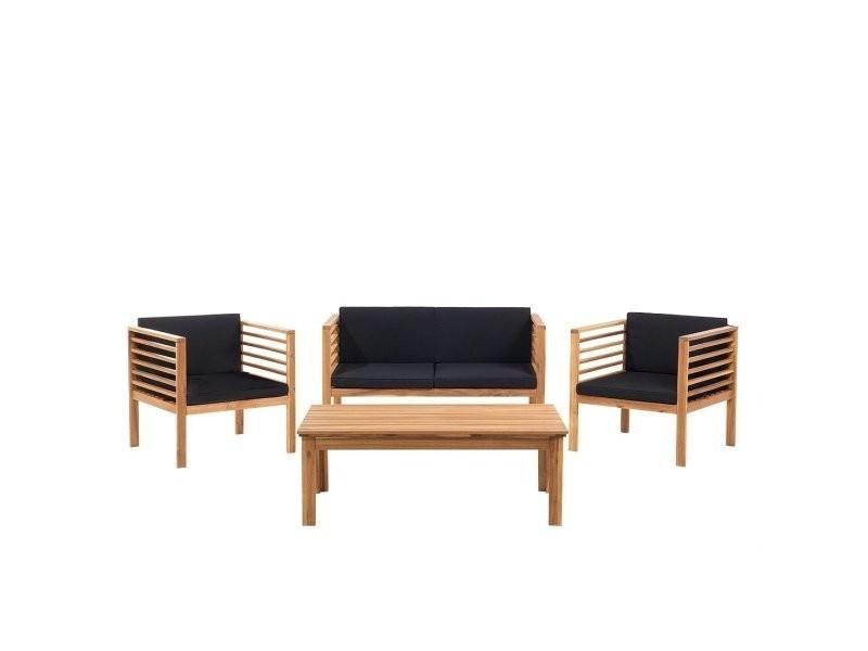 Ensemble de jardin - table chaises et banc- acacia - marron pacific ...