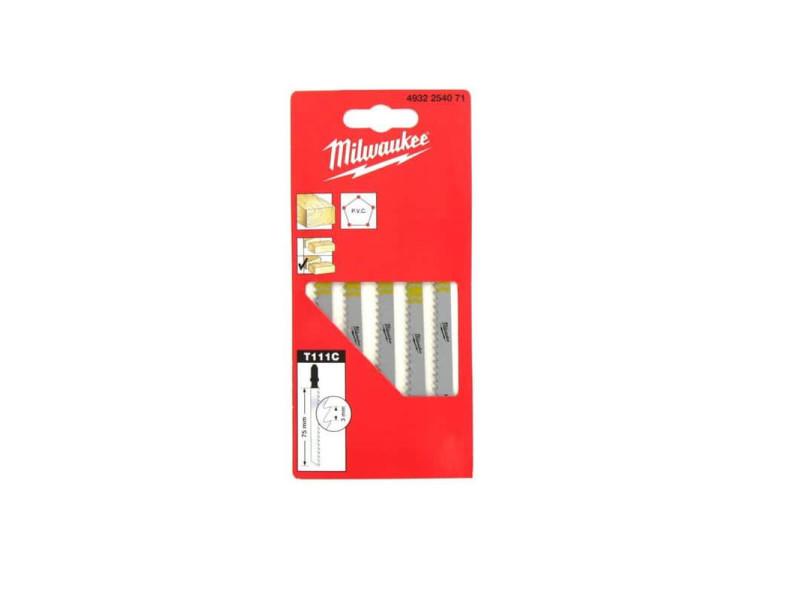 Pack de 5 lames scie sauteuse milwaukee bois/pvc 75 mm denture de 3 mm 4932254071 MILWLAMSAUTT11
