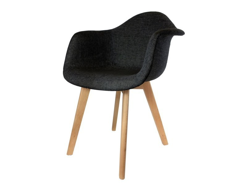 fauteuil scandinave en tissus h 82 cm noir vente de the home deco factory conforama. Black Bedroom Furniture Sets. Home Design Ideas