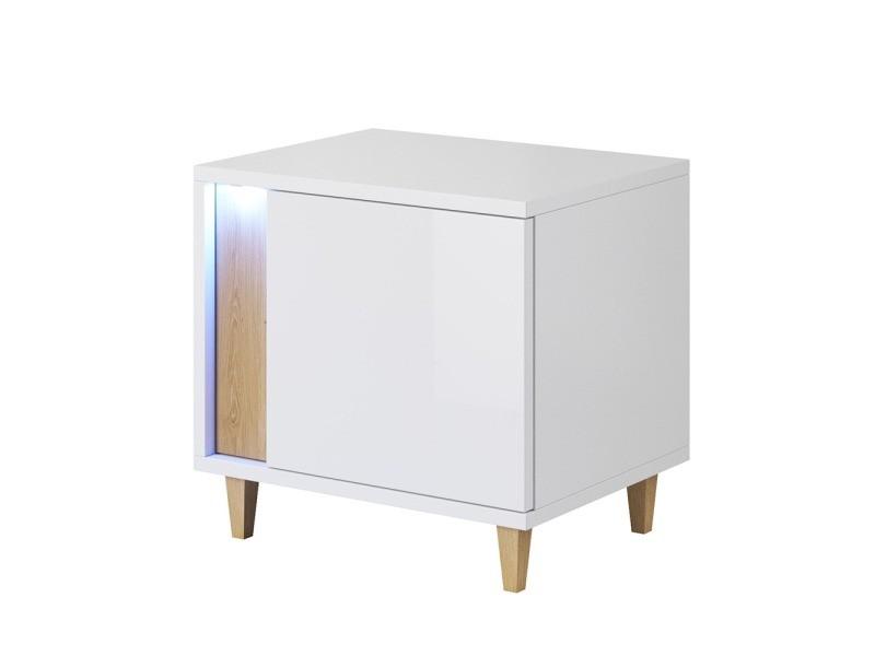 Table de chevet / table de nuit - MUDIEN - 40 cm - blanc / effet chêne - avec led - côté droit - design scandinave