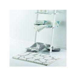 Tapis de bain shaggy galets pacific/blanc les ateliers du linge