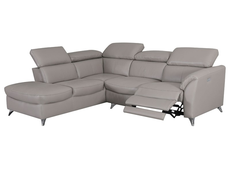 Canapé d'angle gauche en cuir aston - taupe - gauche - taupe