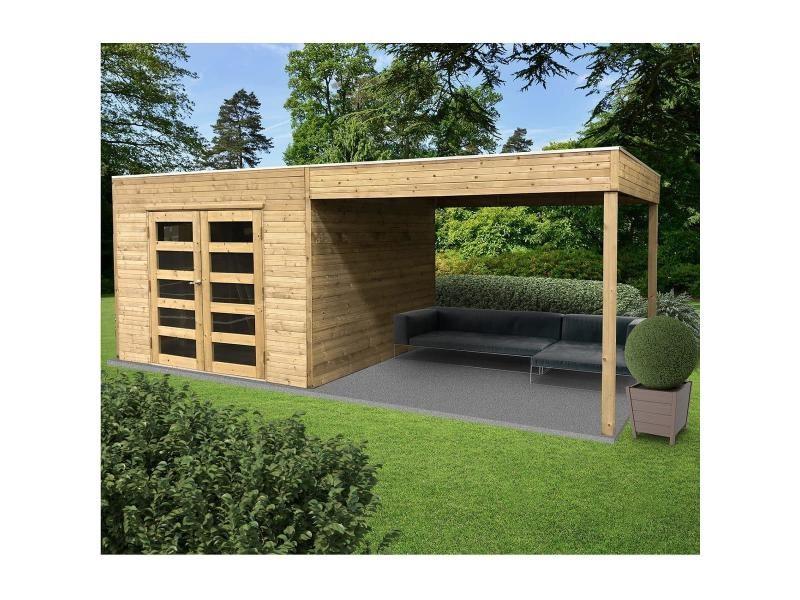 Solid abri de jardin en bois traité tarento avec auvent - 8 m² S8742 ...