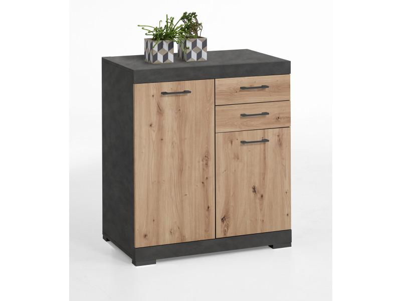 Commode avec 2 portes et 2 tiroirs coloris matera / artisan chêne - dim : l.80 x h.89.9 x p.34.9 cm -pegane-