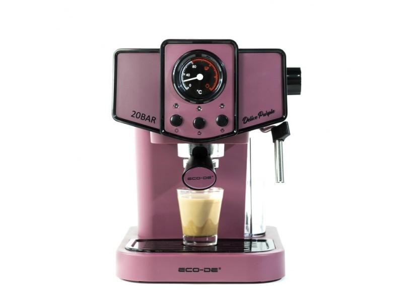 ECODE cafetière expresso delice purple. 20 bars de pression, vaporisateur orientable, réservoir de 1,5 litres, mono/double dose, manomètre avec température ECO-419 DP