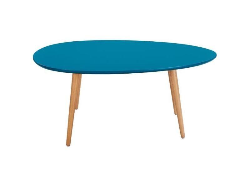 Table basse stone table basse ovale scandinave bleu paon laqué - l 98 x l 61 cm