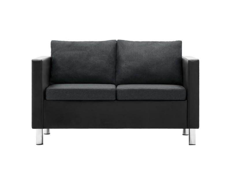 Vidaxl canapé à 2 places simili-cuir noir et gris foncé 247168
