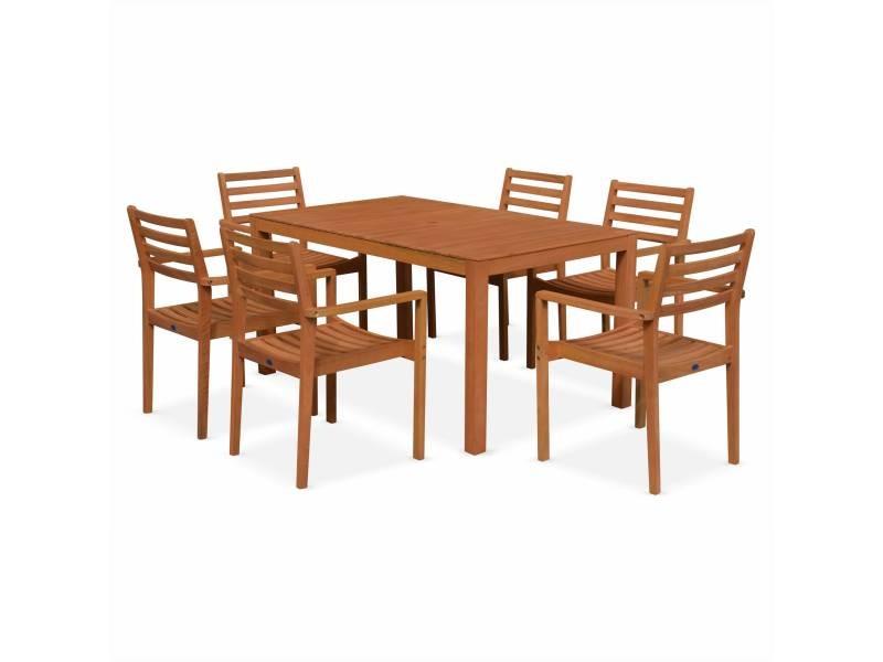Salon de jardin en bois cadaques, table 150cm rectangulaire, 6 ...