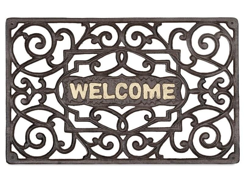 Paillasson tapis porte d'entrée essuie-pieds fonte 52 x 32 cm helloshop26 2013027
