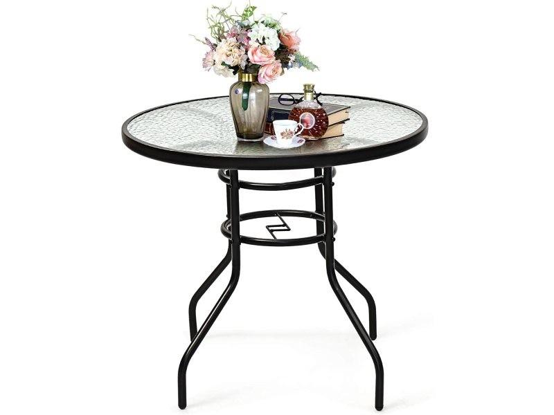 Costway table de jardin, table de bistrot, plateau en verre trempé à eau avec trou de parasol, cadre en métal laqué, plateau 81 cm, hauteur 72 cm pour terrasse, balcon, jardin (rond)