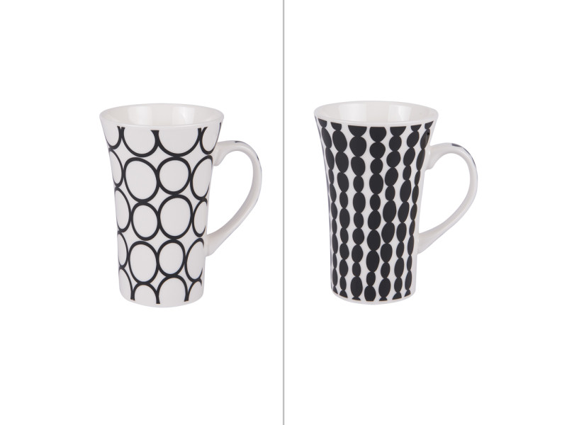 Mug xl 55 cl pois noir (lot de 2)