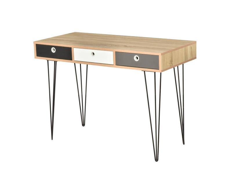 Table d'appoint console design scandinave 3 tiroirs tricolores pieds épingles métal noir panneaux particules chêne clair