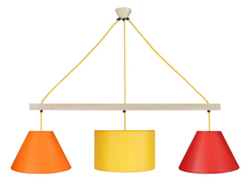 Tosel-amesterdham, lustre barre 3 lumière; orange, blanc, noir, rouge, vert, bleu, jaune, créme, taupe, marron