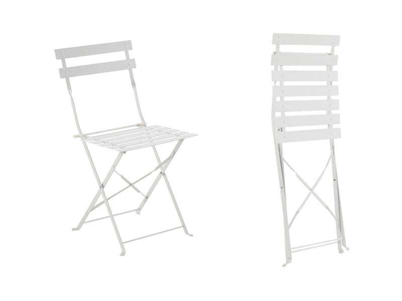 chaise de jardin m tal pliante camargue blanche vente de. Black Bedroom Furniture Sets. Home Design Ideas