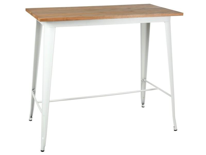 Table haute en métal laqué et bois d'orme huilé blanc