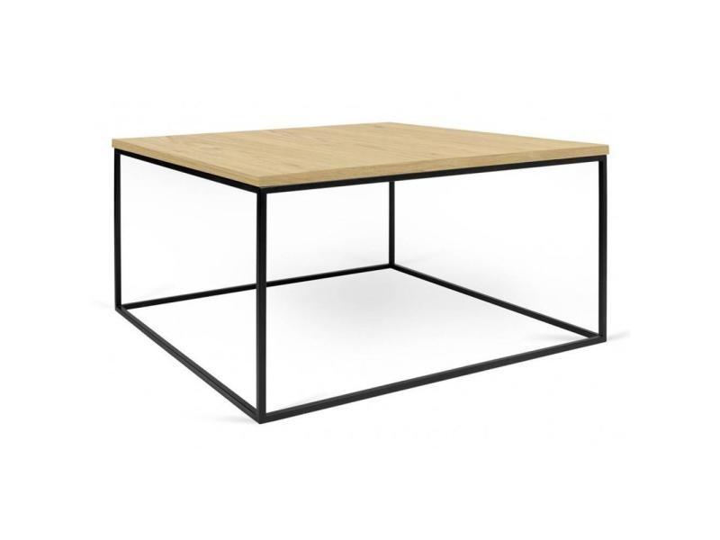 Table basse carrée gleam 75 plateau chêne clair structure laquée noir mat 20100864920