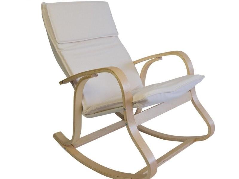 fauteuil bascule relaxation en bois clair coussin cr me. Black Bedroom Furniture Sets. Home Design Ideas