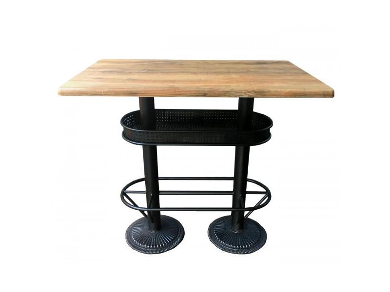 Oldwood - table bistrot plateau effet bois vieilli l110