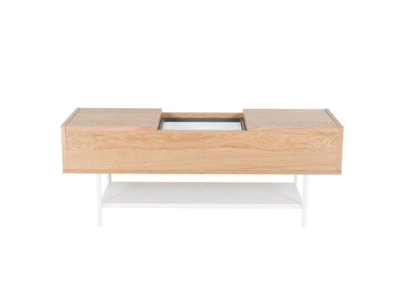 Table basse plaqué chêne naturel et blanc laqué