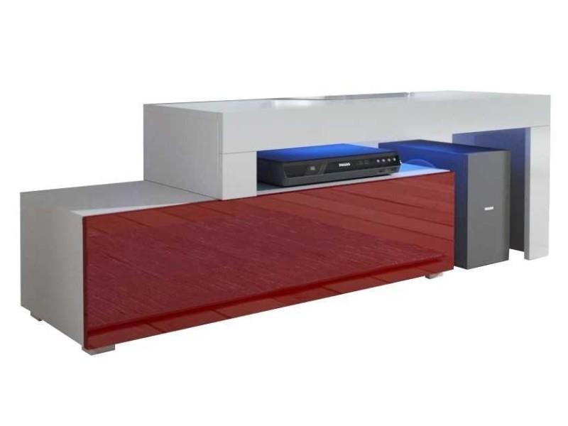 Meuble tv exténsible 108 - 200 cm + led bleu