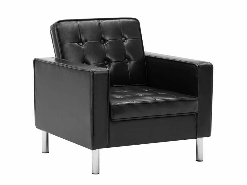 Fauteuil chaise siège lounge design club sofa salon revêtement simili-cuir noir helloshop26 1102164/3