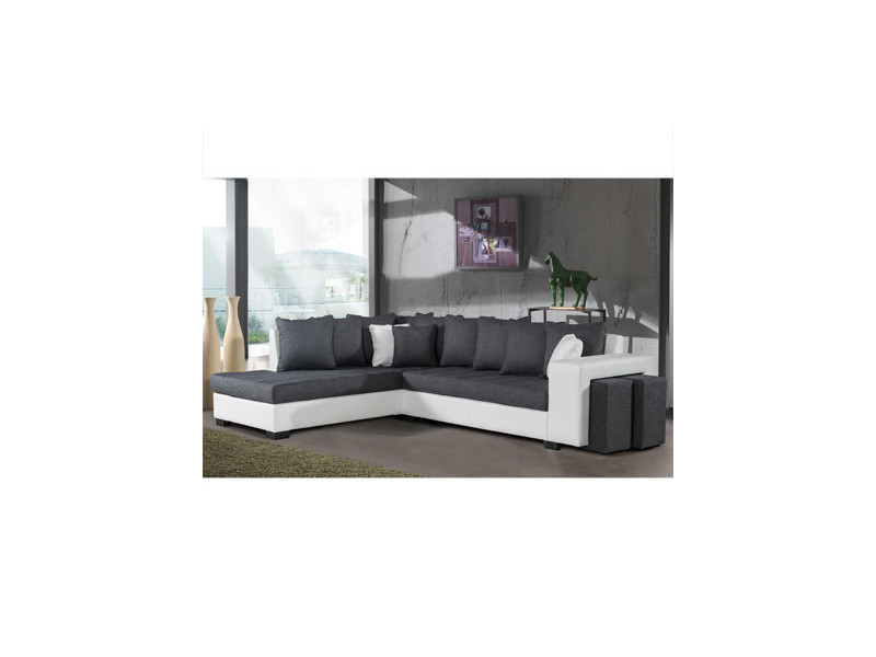 Canapé d'angle à gauche gris et pvc blanc - paloma