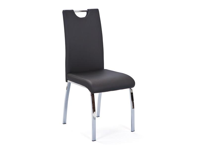 Chaise haute salle a manger cuisine séjour moderne design chrom cuir noire