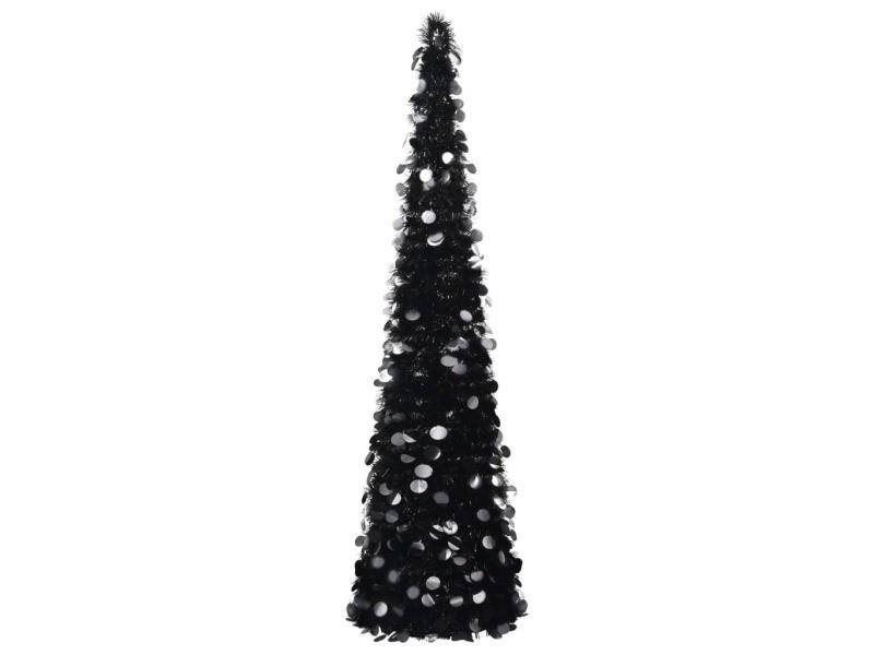 Vidaxl sapin de noël artificiel escamotable noir 150 cm pet 320986