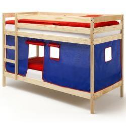 Lit superposés naturel felix rideaux, bleu/rouge